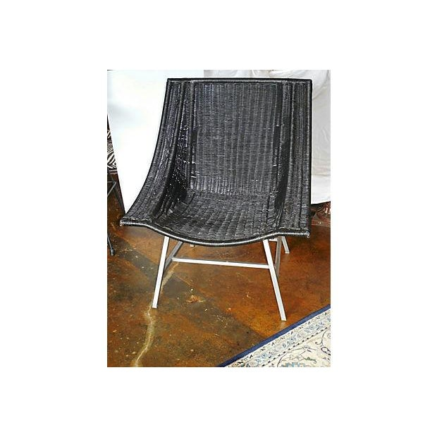 Modernist Wicker & Aluminum Lounge Chair - Image 2 of 6