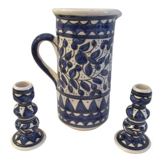 Spanish Pottery Hand-Made Pitcher W/Candle Holders - Set of 3 For Sale
