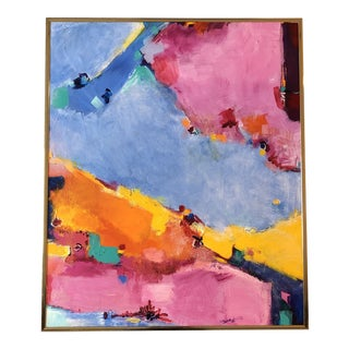 Original Vintage Abstract Painting Signed 1980's For Sale