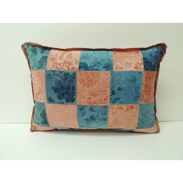 Late 19th Century Pink and Blue Romance Through the Gilded Age's Asian Textiles Patchwork Pillow For Sale - Image 5 of 5