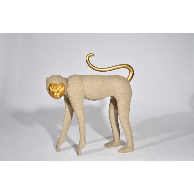 Cottage 1980s Vintage Modernist Monkey Figurine With Gilt Features For Sale - Image 3 of 11