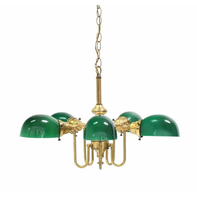 Emerald and Glass Brass Light Fixture For Sale - Image 4 of 9