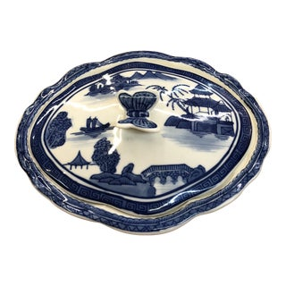 Oval Blue & White Covered Dish For Sale