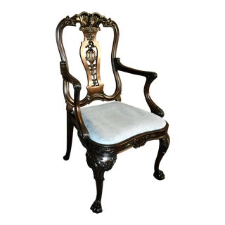 Vintage Carved Georgian Style Chair For Sale