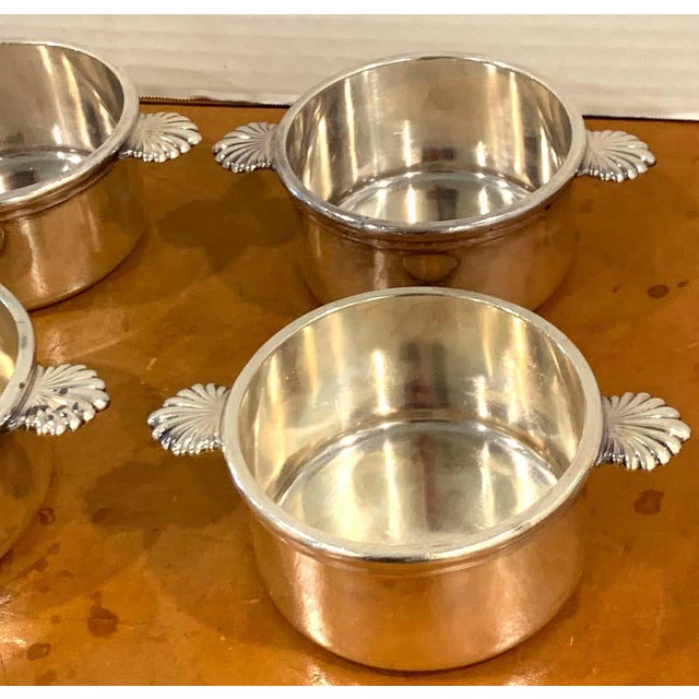 Silver French Silverplated Handled Open Tureens/ Pot De Crème by Europe Felix - Set 6 For Sale - Image 8 of 10
