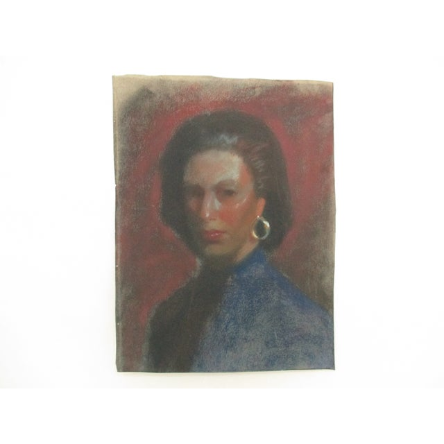 Lady With Gold Earring Pastel Portrait - Image 3 of 4