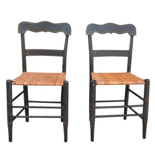 Antique American Country Sheraton Cane Seat Chairs Pair For Sale