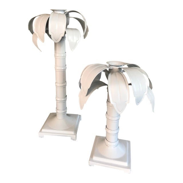Tole Palm Trees Candle Holder - a Pair For Sale
