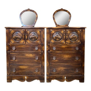 1940s Romweber Viking Oak Horse Highboys With Mirrors - a Pair For Sale