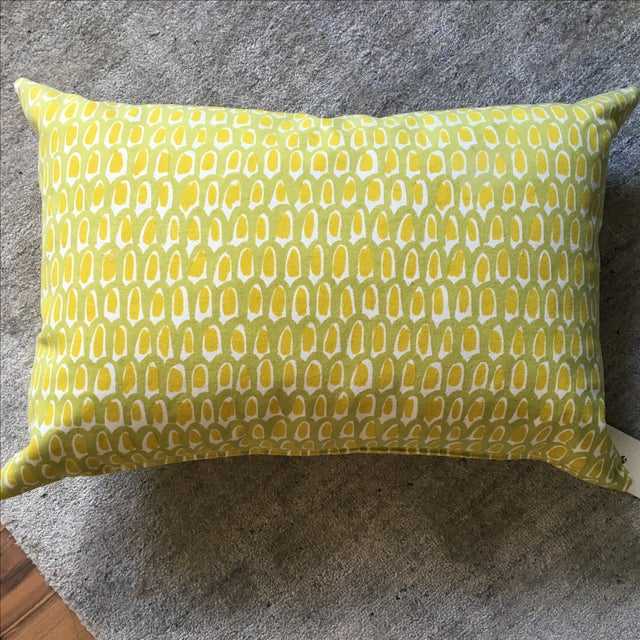 Green and Yellow Cotton Canvas Pillow - Image 6 of 6