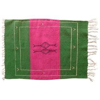 Moroccan Green & Pink Small Wool Rug - 1′9″ × 2′6″