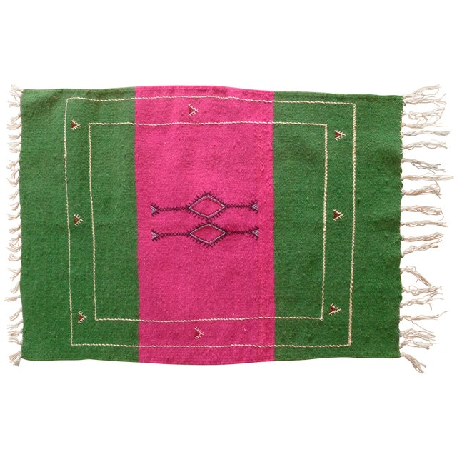 Moroccan Green & Pink Small Wool Rug - 1′9″ × 2′6″ - Image 1 of 6
