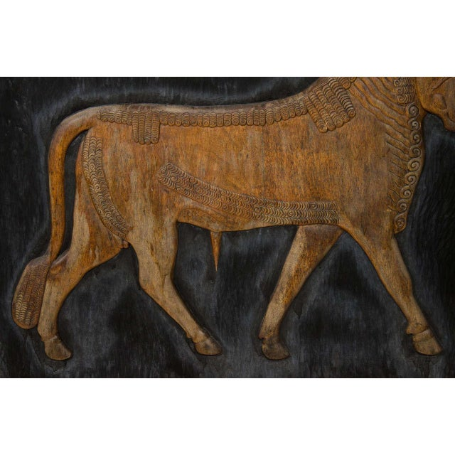 Plywood Exceptional Hand Carved Artwork Panel From the Estate of Charles Lamb For Sale - Image 7 of 11