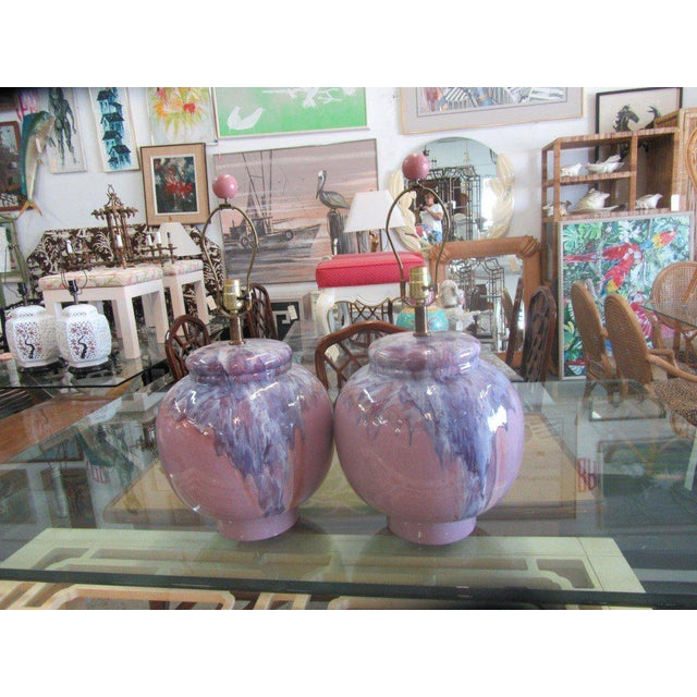 Lavender Drip Glaze Mid-Century Modern Lamps - A Pair - Image 7 of 7