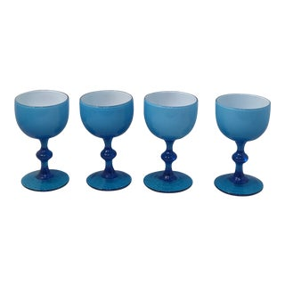 1950s Carlo Moretti Blue Cased Coupes - Set of 4 For Sale