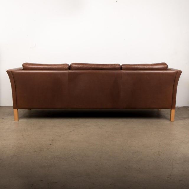 Danish Mid-Century Sofa in Brown Leather