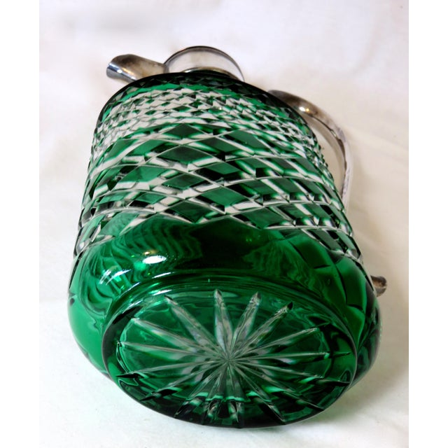 Antique Bohemian Cut Glass Emerald Green Wine Pitcher For Sale In Boston - Image 6 of 7