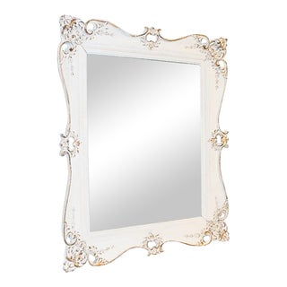 Vintage White Painted MIrror For Sale