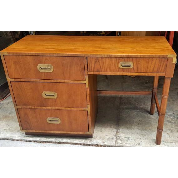Dixie Mid-Century Dixie Campaign Style Desk For Sale - Image 4 of 7