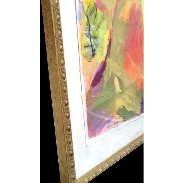 Paper Abstract Framed Small Landscape Painting in Vintage Gold Frame For Sale - Image 7 of 10