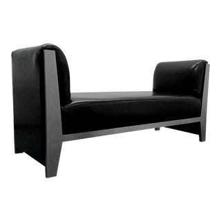 Solid Steel and Leather Bench by Yves Saint Laurent For Sale