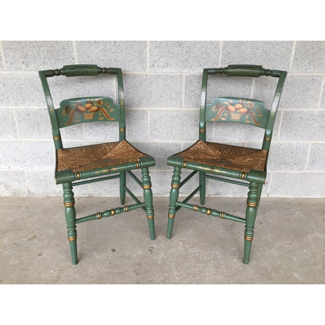 L. Hitchcock Paint Decorated Crown Back Rush Bottom Side Chairs - a Pair For Sale In Philadelphia - Image 6 of 6