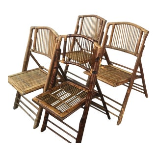 Early 18th Century Vintage Folding Bamboo Chairs- Set of 4 For Sale