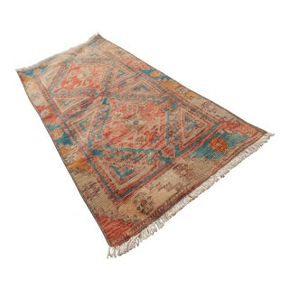 """Distressed Small Oushak Turkish Rug 1'6"""" X 3'1"""" For Sale"""