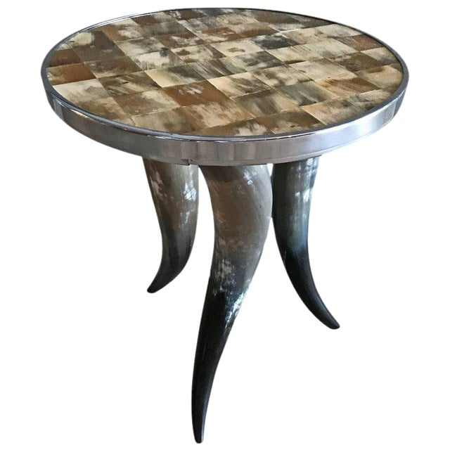 Contemporary Bones and Horns Side Table For Sale