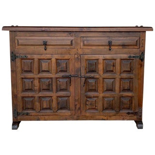 Catalan Spanish Baroque Carved Walnut Tuscan Two Drawers Credenza or Buffet For Sale