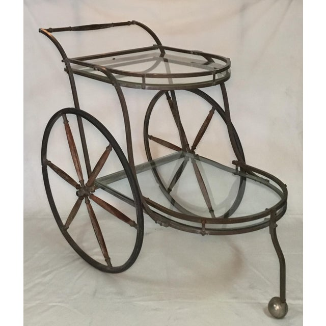 1950s Bronze and Glass Bar Cart With Wooden Spoked Wheels For Sale - Image 11 of 13