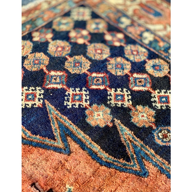 1930s Vintage Persian Mazlaghan Rug - 4′5″ × 5′10″ For Sale - Image 9 of 12