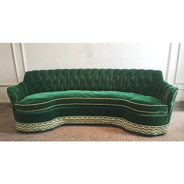 Green Mohair Curved Tufted Sofa - Image 6 of 6