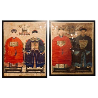 Pair of Monumental Ancient Ancestor Portraits / Chinese Paintings on Rice Paper For Sale