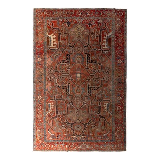 Hand-Knotted Antique Serapi Rug Geometric Burnt Red and Blue Persian Rug For Sale