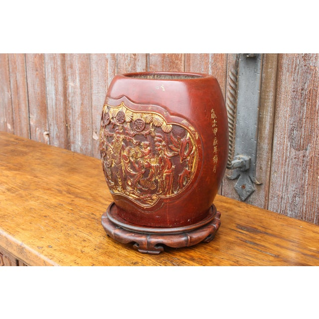 Shou Lao Carved Barrel Container on a Stand For Sale - Image 4 of 11