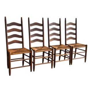 AntiqueLadder Back Farmhouse Dining Chairs - Set of 4 For Sale