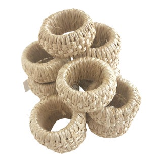Woven Rattan Napkin Rings - Set of 12 For Sale