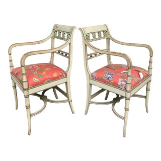 Italian Regency Style Painted Armchairs For Sale