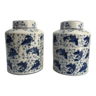 1940s Chinese Porcelain Koi Ginger Jars - a Pair