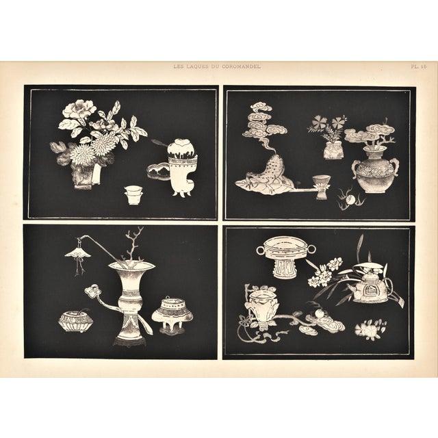 Art Deco Asian Botanical Design Print For Sale