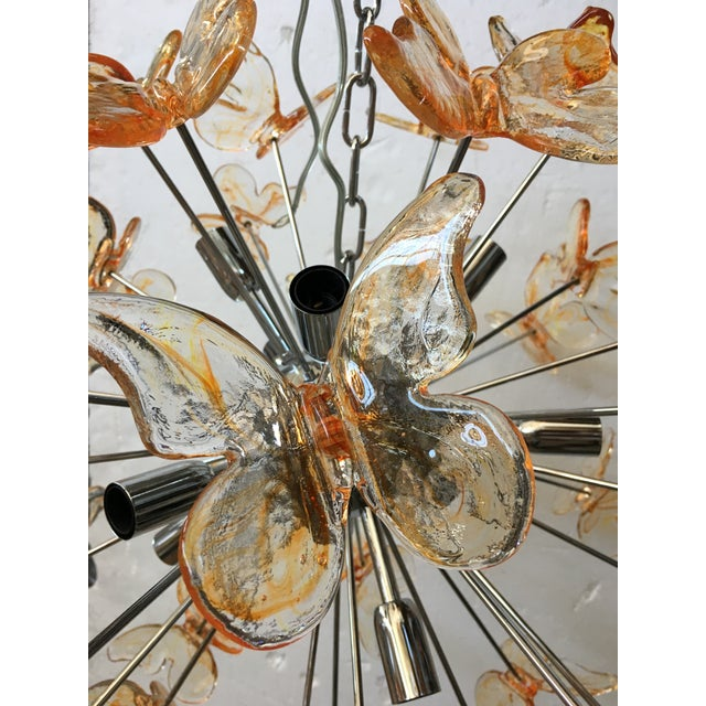 Orange Murano Glass Butterfly Sputnik Chandelier For Sale - Image 8 of 12