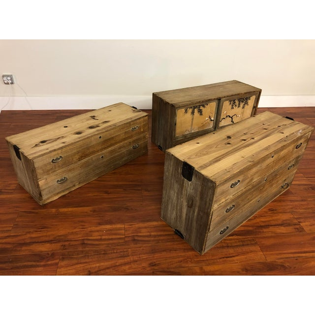3 Piece Stacking Vintage Japanese Tansu Chest For Sale - Image 9 of 13