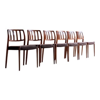 1970s Vintage Moller Model 83 Rosewood Dining Chairs - Set of 6 For Sale
