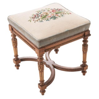 French Early 20th Century Louis XVI Stool With Needlepoint Cushion For Sale