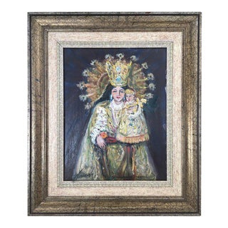 20th Century Oil Painting of Madonna and Child by Arnedo Linares, Spain For Sale