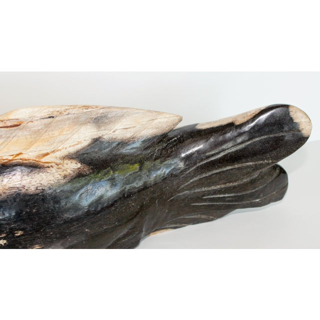 Stone Hand Carved Petrified Wood Koi Fish Sculpture For Sale - Image 7 of 8