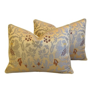 "Gold Clarence House Fabric Renaissance Griffin Feather/Down Pillows 24"" X 18"" - Pair For Sale"