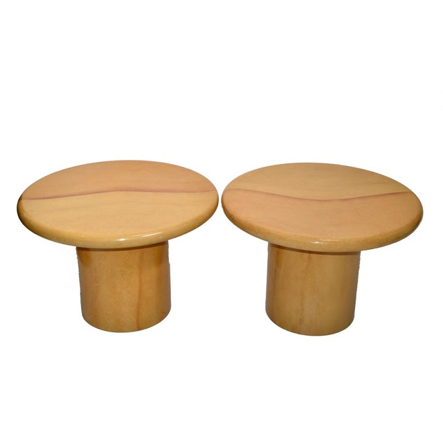 Karl Springer Style Lacquered Goatskin Top Side Tables Mid-Century Modern - Pair For Sale - Image 9 of 13