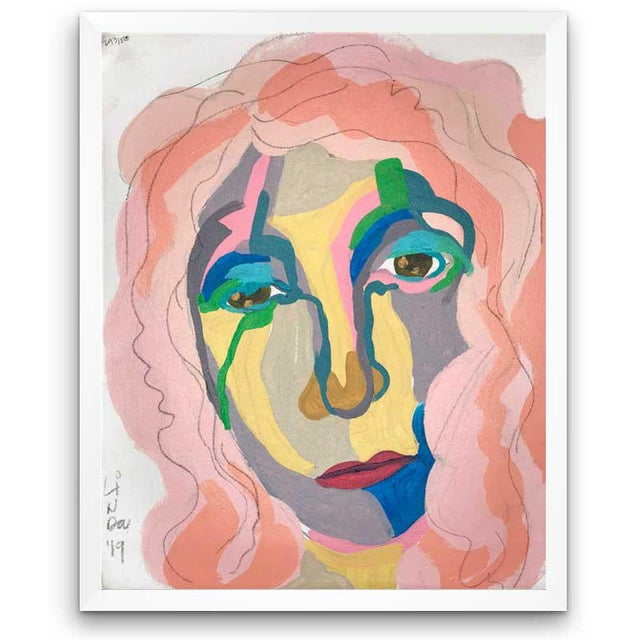 This abstract portrait is by contemporary artist Linda Ward of Detroit. This portrait is #293 out of a series of 500...